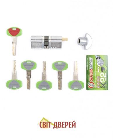 "Цилиндр ""SECUREMME"" К22, 50/40Т, [ключ/тумблер], [сатин]"