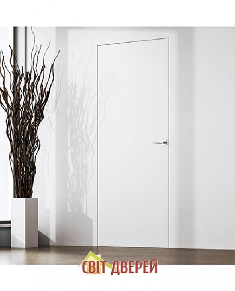 Скрытые двери IS 1 под покраску с алюминиевым торцом